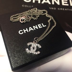 Chanel silver crystal CC pendant necklace